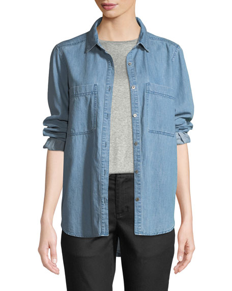 Eileen Fisher Organic Cotton Denim Pocket Shirt, Petite