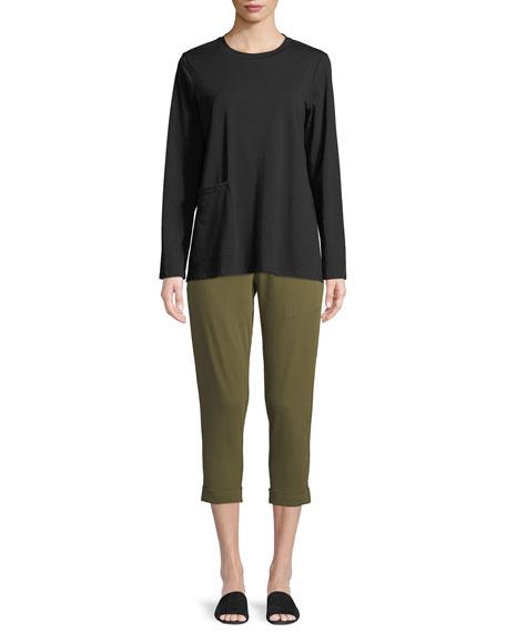 Slim Organic Cotton Jersey Cropped Pants, Petite