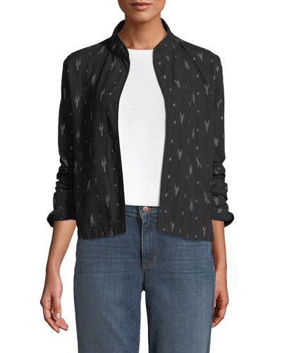 Ikat-Print Mandarin-Collar Short Jacket