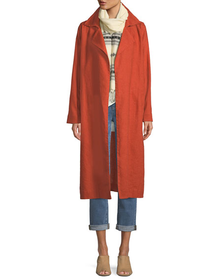 Heavy Organic Linen Trench Coat, Plus Size