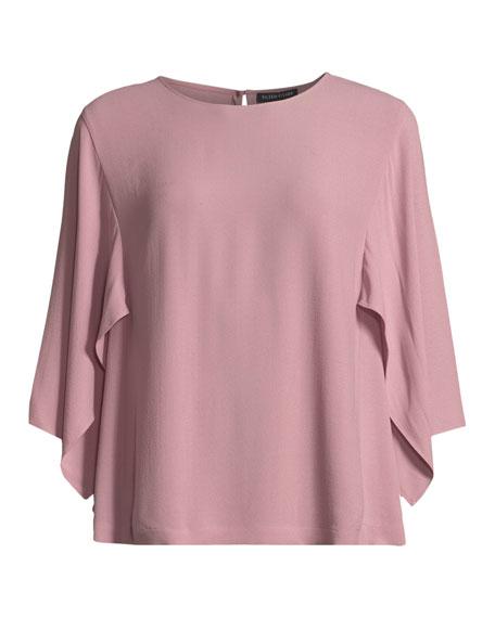 Cape-Sleeve Silk Top