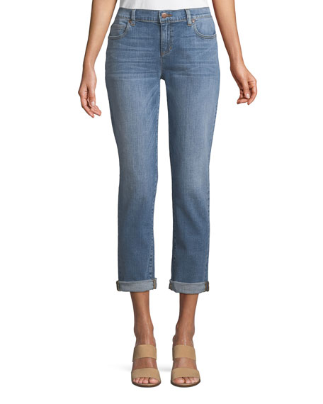 Abraded Denim Boyfriend Jeans, Petite