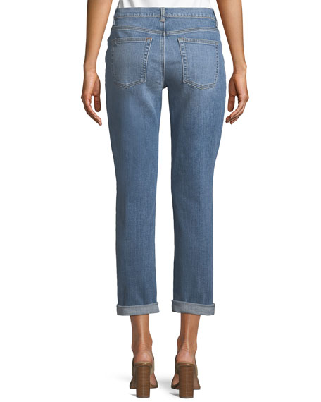 Abraded Denim Boyfriend Jeans, Plus Size