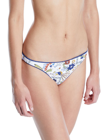 Meadow Folly Floral Hipster Bikini Bottom, White