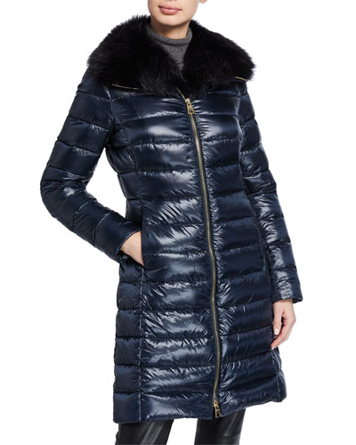 Fitted Fur-Collar Puffer Coat