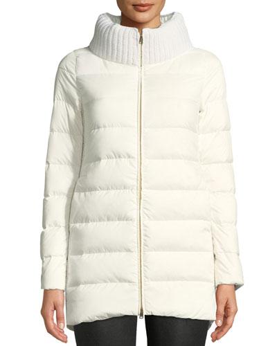 Wool & Down Combo Puffer Coat