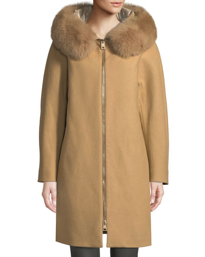 Long Wool Coat w/ Fur-Trim Hood