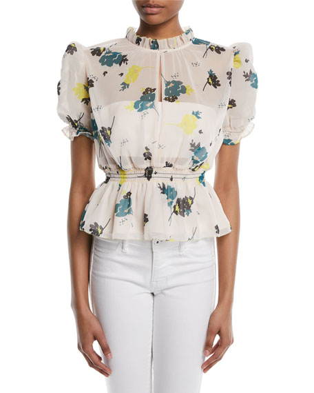 Puff-Sleeve Floral-Print Peplum Blouse, Pink