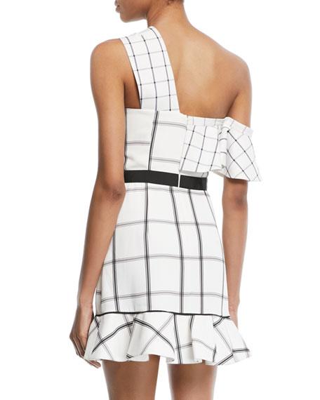 Check Draped Frill Mini Dress