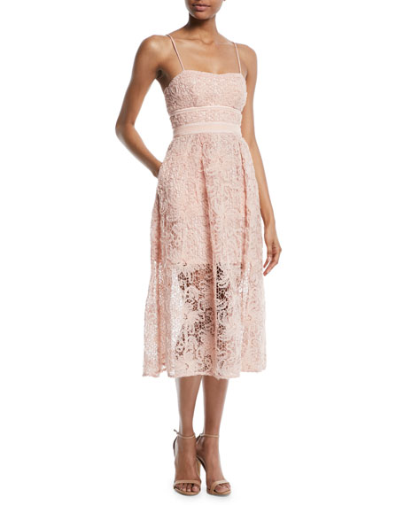 Floral Lace Sleeveless Midi Cocktail Dress