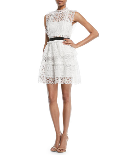 Sleeveless Lace Belted Mini Cocktail Dress