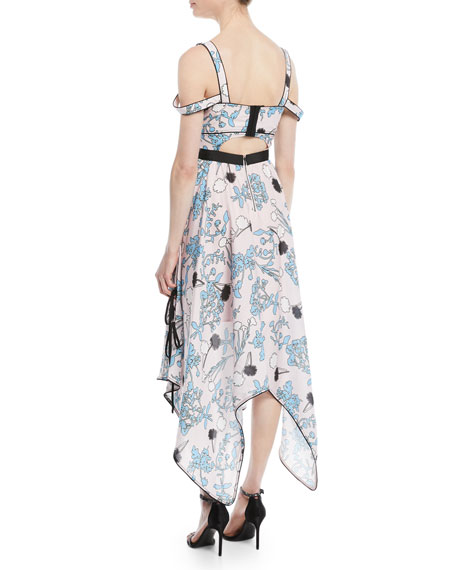 Asymmetric Floral-Print Midi Dress