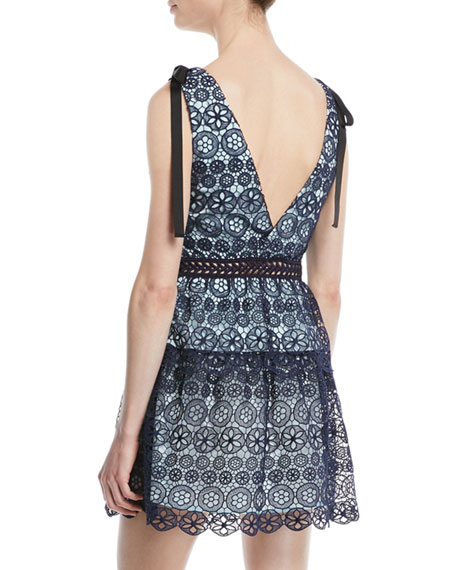 Tiered Floral Lace Mini Cocktail Dress