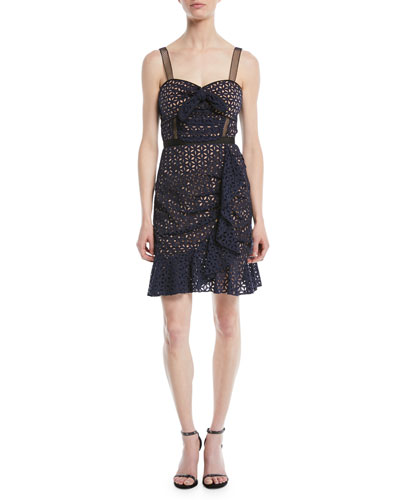 Floral Broderie Anglaise Flounce Cocktail Dress