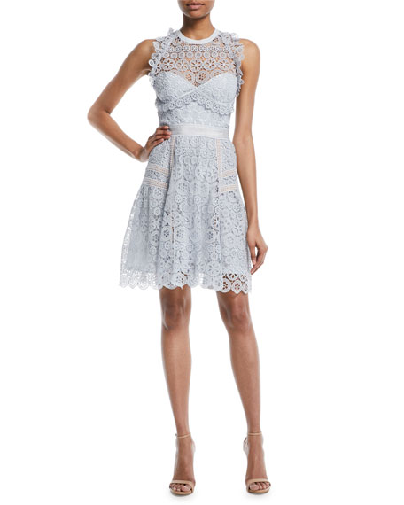 Floral Lace Frill Mini Halter Dress