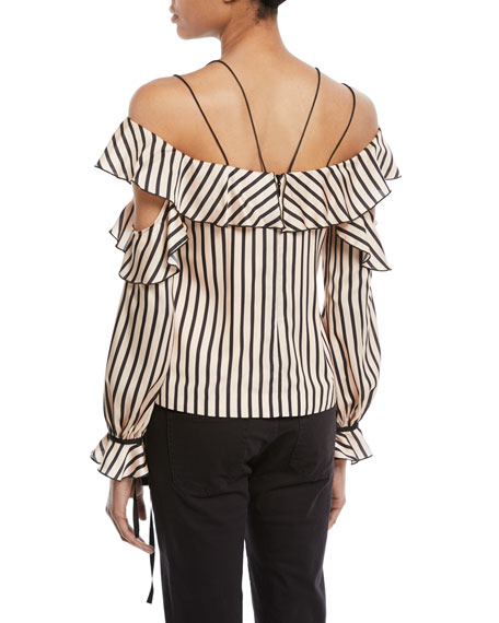 Striped Off-the-Shoulder Satin Frill Top