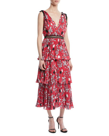 Tiered Floral Crepe de Chine Midi Dress
