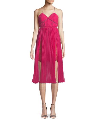 Pleated Chiffon Midi Cocktail Dress