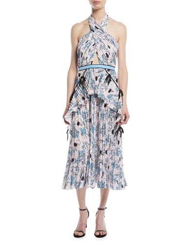 Cross-Front Pleated Floral Halter Dress