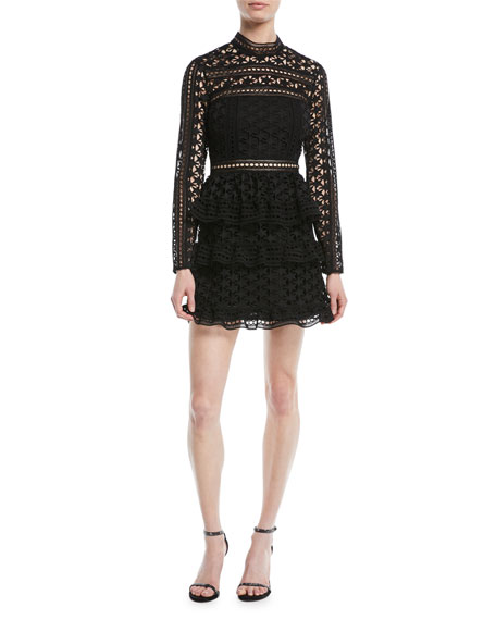 Star Lace Guipure Ruffle Mini Cocktail Dress