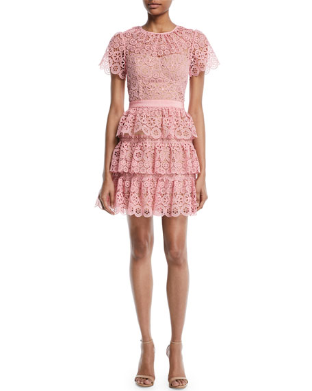 Tiered Lace Scalloped Mini Cocktail Dress, Pink