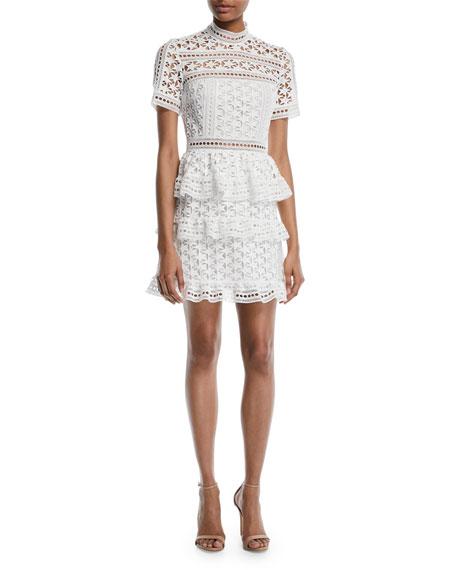 High-Neck Star Lace Paneled Mini Cocktail Dress