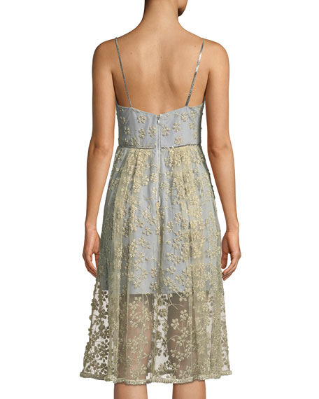 Floral Embroidered Mesh Midi Cocktail Dress