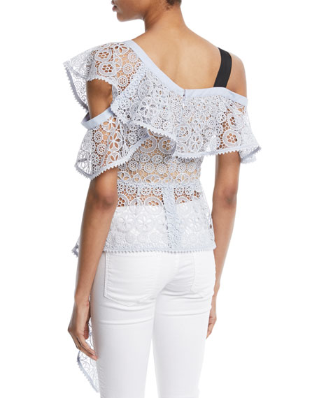 Asymmetric Floral Lace Ruffle Top