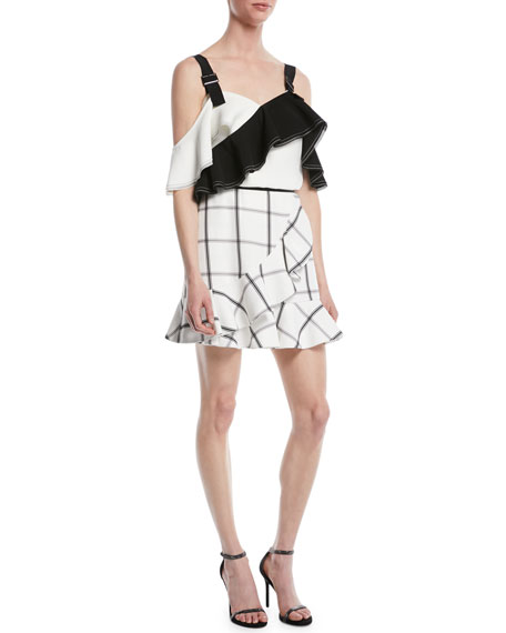 Monochrome Check Frill Skirt