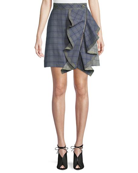 Check Flounce Mini Skirt