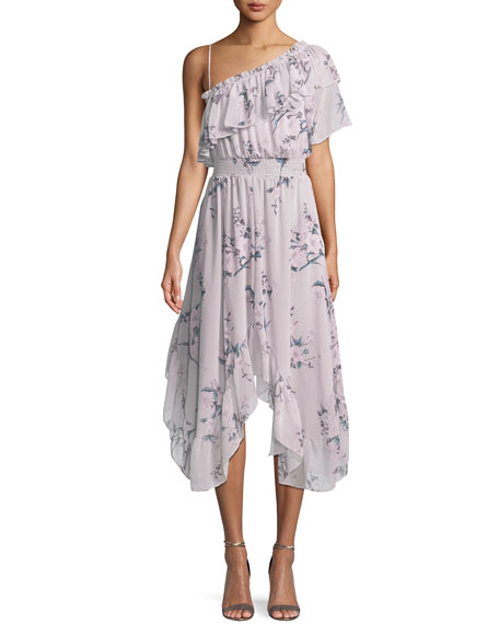 MISA Los Angeles Alexandra One-Shoulder Floral Midi Dress