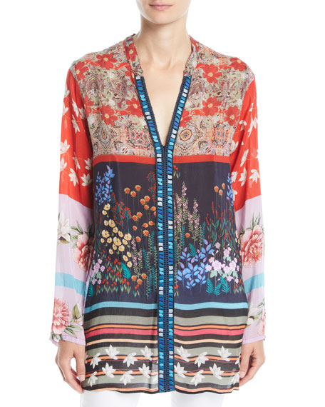 Johnny Was Paneled-Print Georgette Boyfriend Blouse, Petite