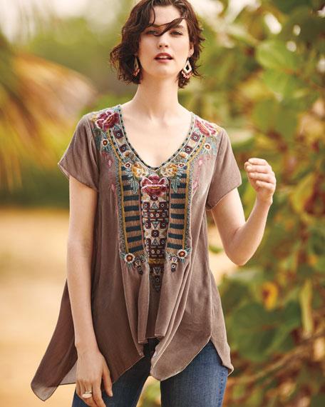 Cherelle Embroidered Velvet Tunic
