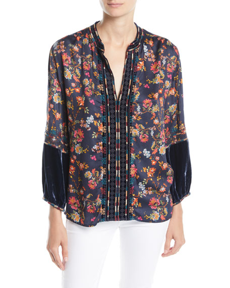 Johnny Was Paris Effortless Velvet-Trim Blouse, Petite