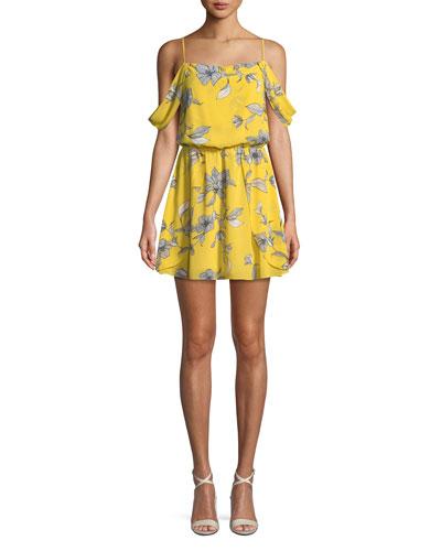 Venice-Print Sleeveless Blouson-Top Mini Dress
