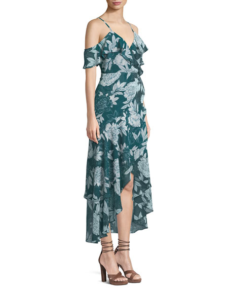 V-Neck Sleeveless Floral-Print Garden-Party Dress w/ High-Low Hem