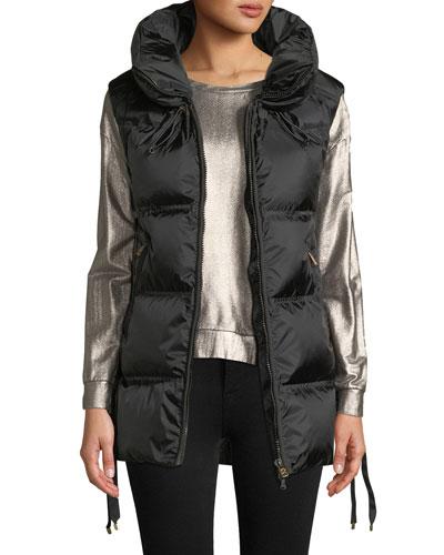 Dorea Wide Down-Filled Vest w/ Lace-Up Sides
