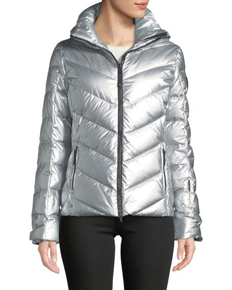 BOGNER Sassy Metallic Puffer Coat In Chevron in Silver