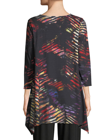 Harvest-Print Knit Swing Tunic Top