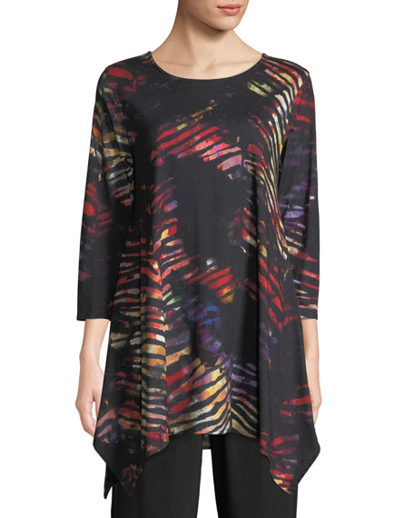 Caroline Rose Harvest-Print Knit Swing Tunic Top, Petite