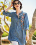 Plus Size Madison Chambray Tunic Shirt w/ Floral Embroidery