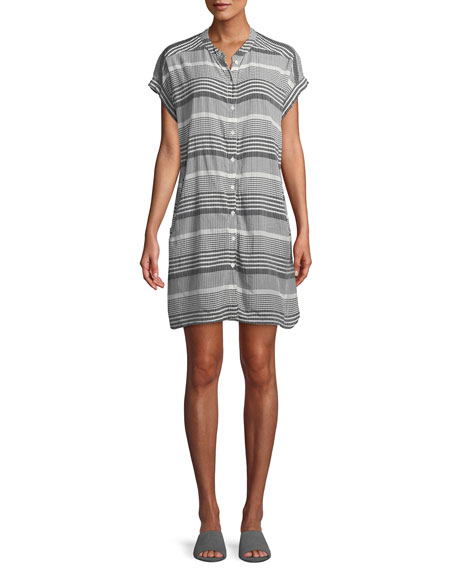 Masai Ihsan Short-Sleeve Mixed-Check Easy Tunic/Dress