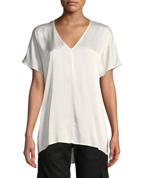 XCVI MILANI DUAL SATIN V-NECK T-SHIRT TOP, PLUS SIZE
