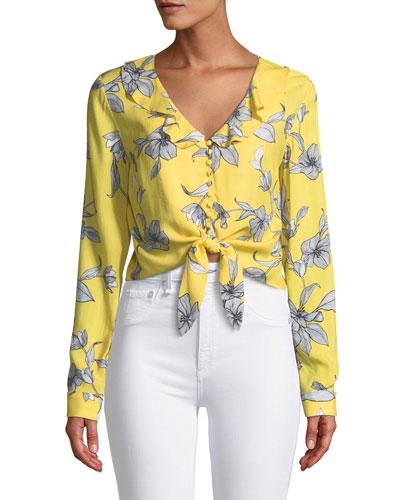 V-Neck Long-Sleeve Tie-Waist Floral-Print Top