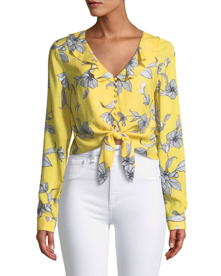 V-Neck Long-Sleeve Tie-Waist Floral-Print Top