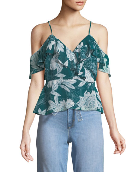 Garden Party V-Neck Cold-Shoulder Floral-Print Top