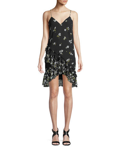 V-Neck Sleeveless Ditsy-Floral Dress