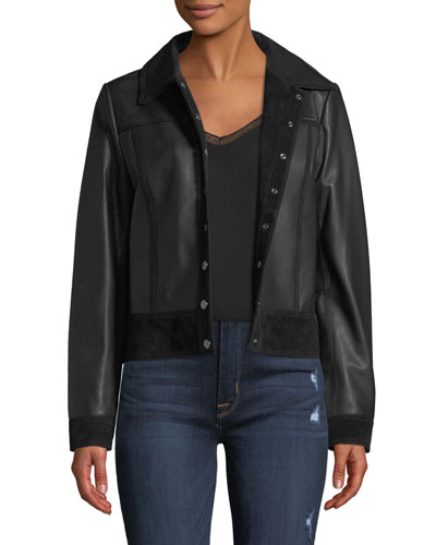 Snap-Front Suede-Trim Leather Trucker Jacket