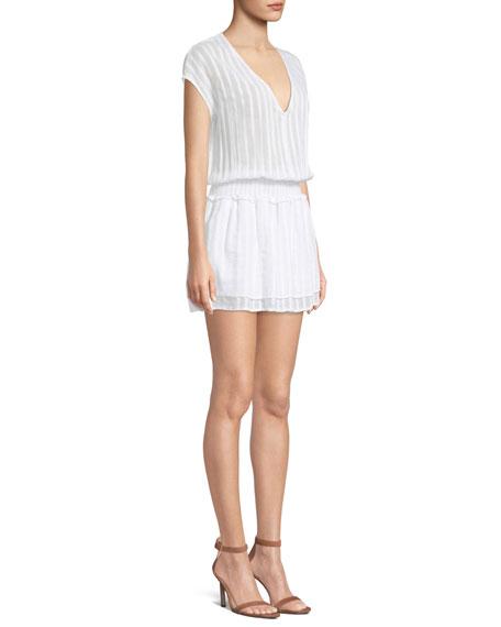 Lucca Tonal-Stripe V-Neck Mini Dress