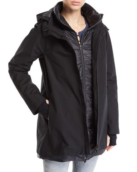 HERNO 3-In-1 Padded Rain Coat W/ Hood in Black